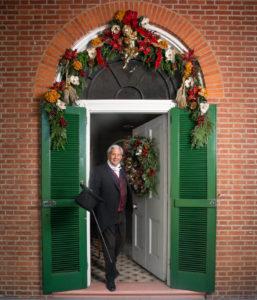 Reenactor as Buchanan in Wheatland doorway.